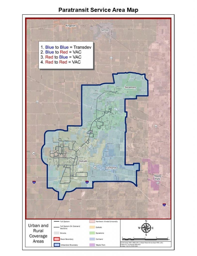 Paratransit service area map.